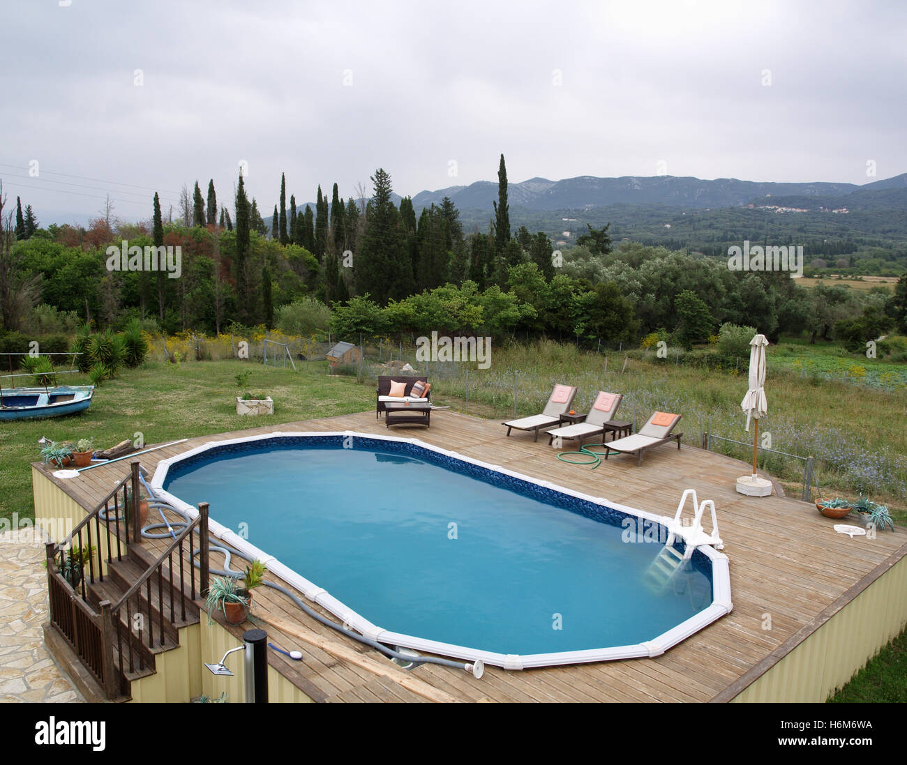 Above Ground Swimming Pool At Property In Corfu Countryside Stock Photo Alamy
