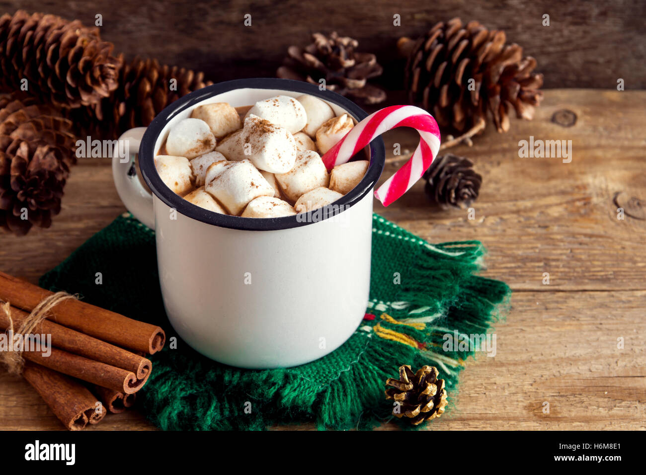 Hot Chocolate With Marshmallows Peppermint Candy Canes And