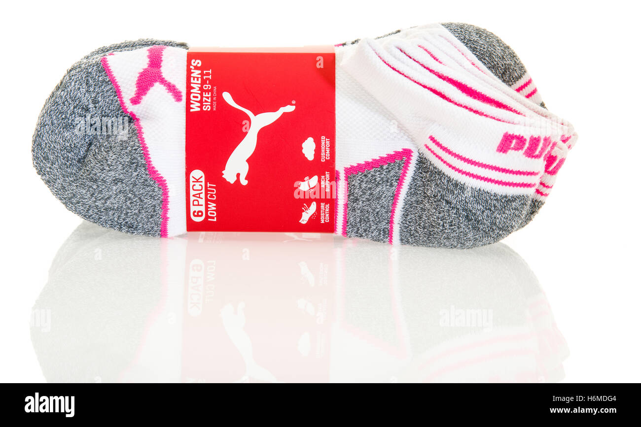 Winneconne, WI - 29 October 2016:  Puma whtie athletic socks on an isolated background. - Stock Image