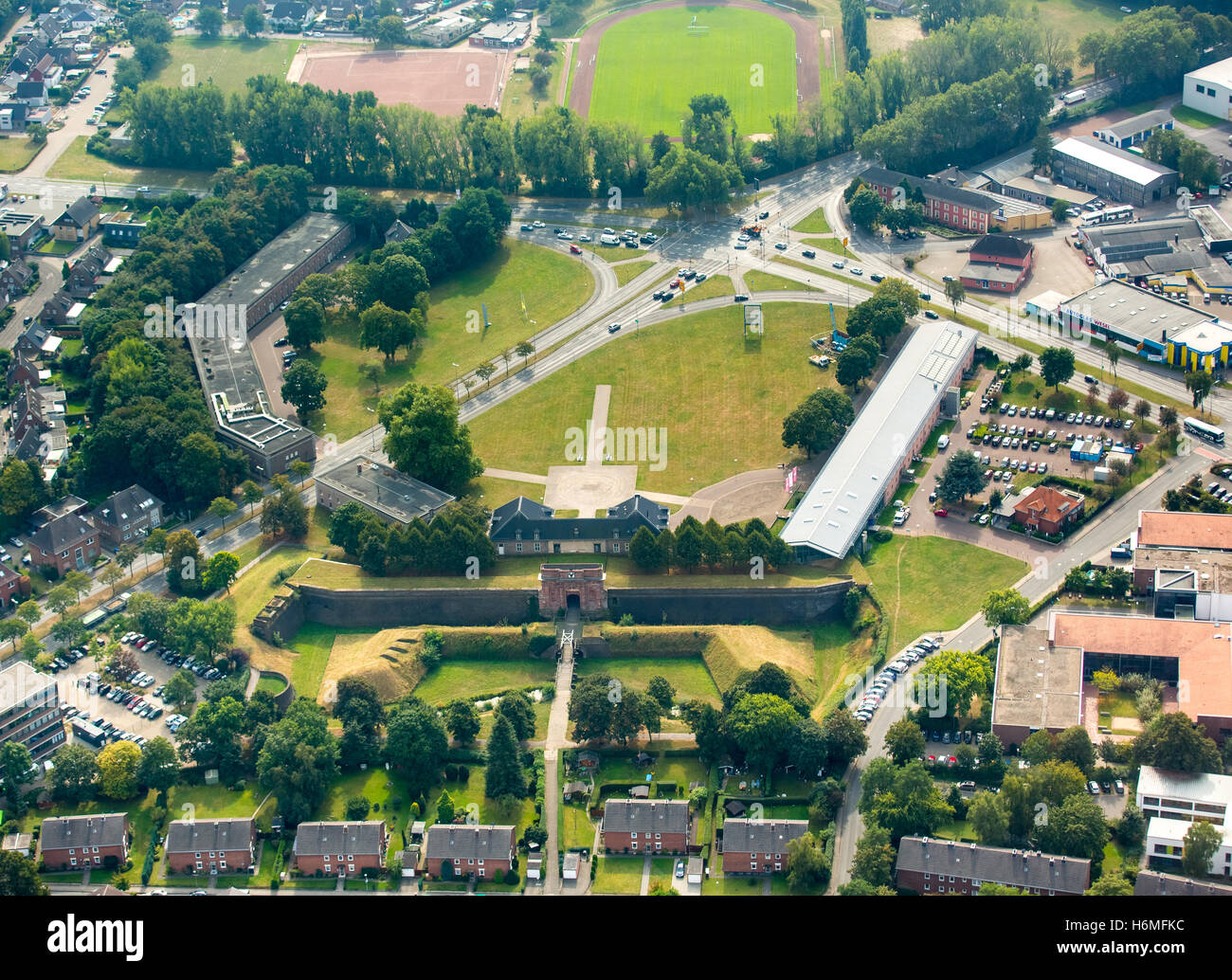 Aerial picture, in the stronghold, Prussian's museum of North Rhine-Westphalia, Wesel, the Lower Rhine, North - Stock Image
