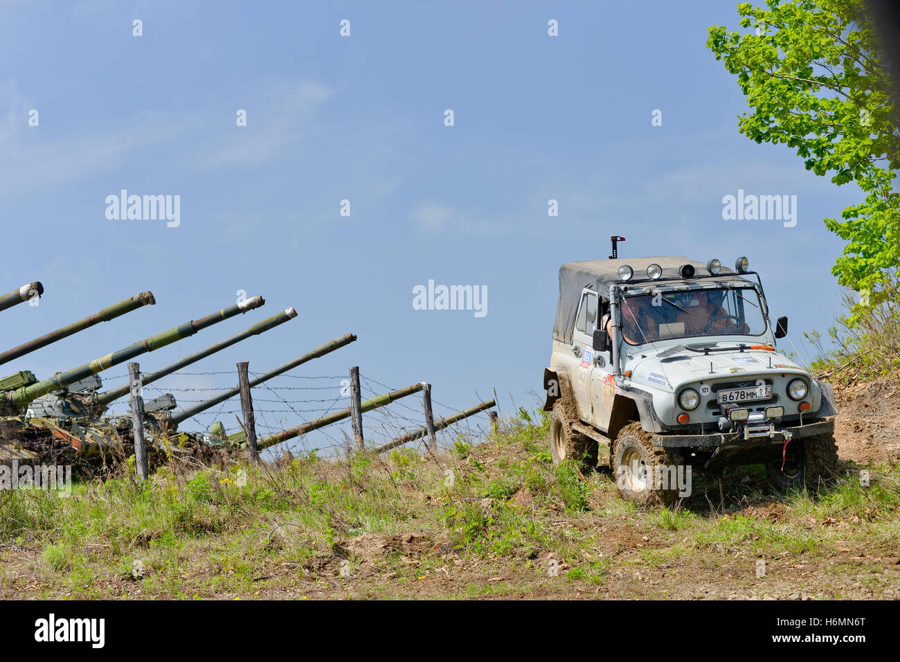 cars moving on the off road at competitions Stock Photo