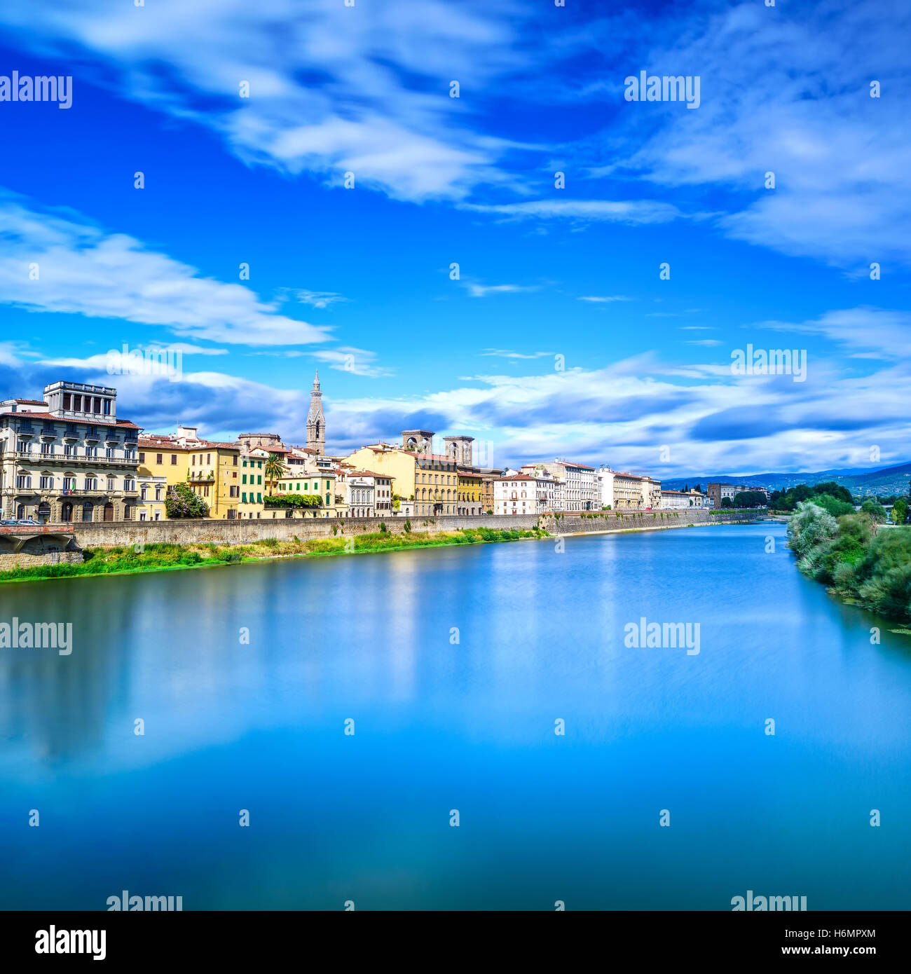 Florence or Firenze, Arno river, sunset landscape. Tuscany, Italy. Long exposure. - Stock Image