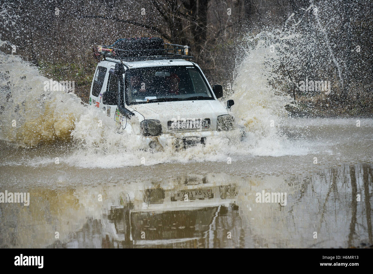 the car is driven on the offroad - Stock Image