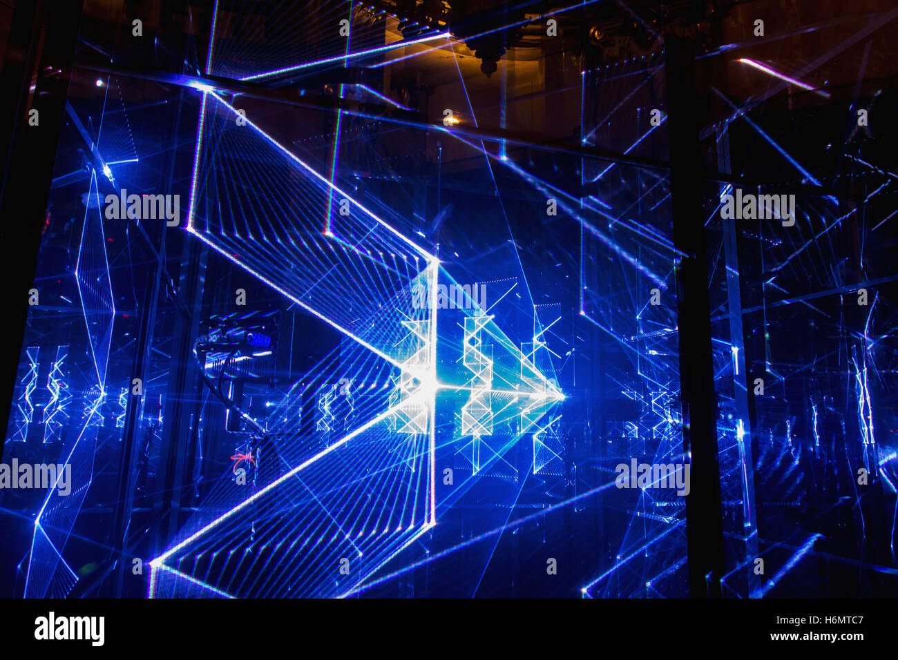 Abstract rays futuristic blue background texture, blue laser
