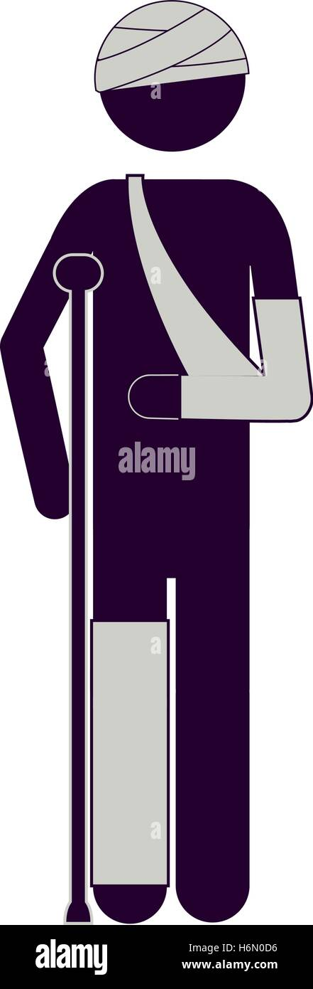 silhouette man with bandages and crutches vector illustration Stock Vector