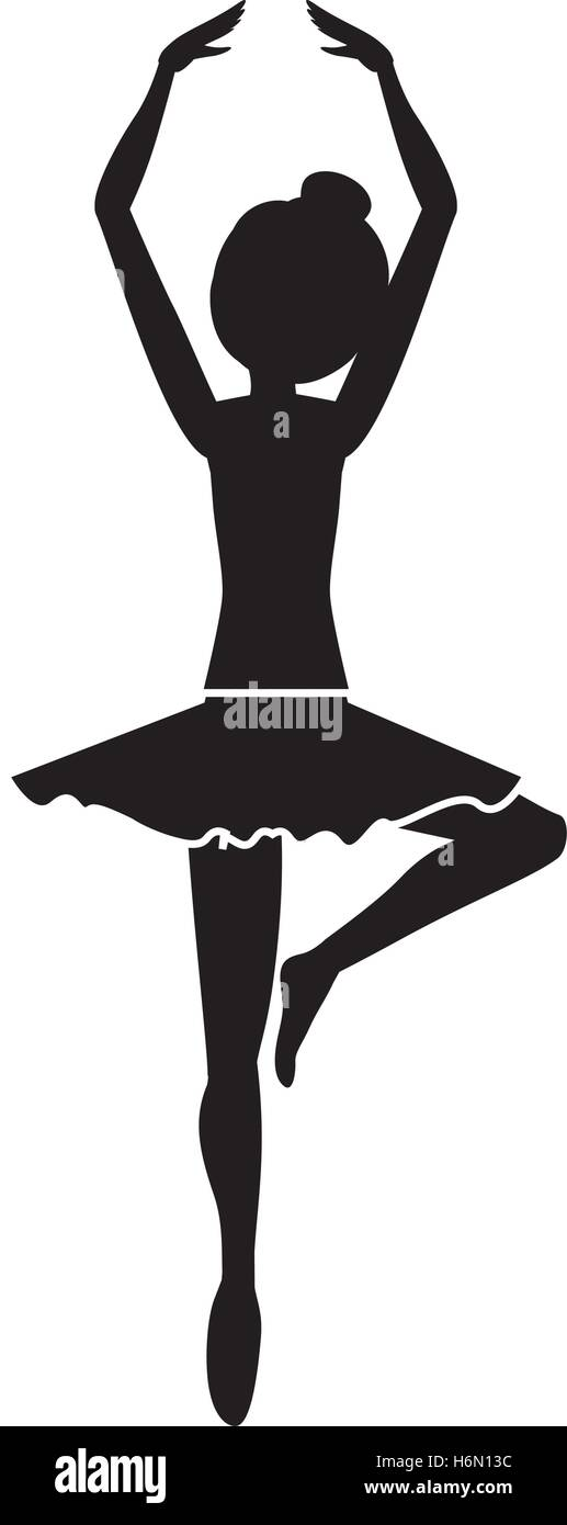 silhouette with dancer pirouette fifth position vector illustration Stock Vector