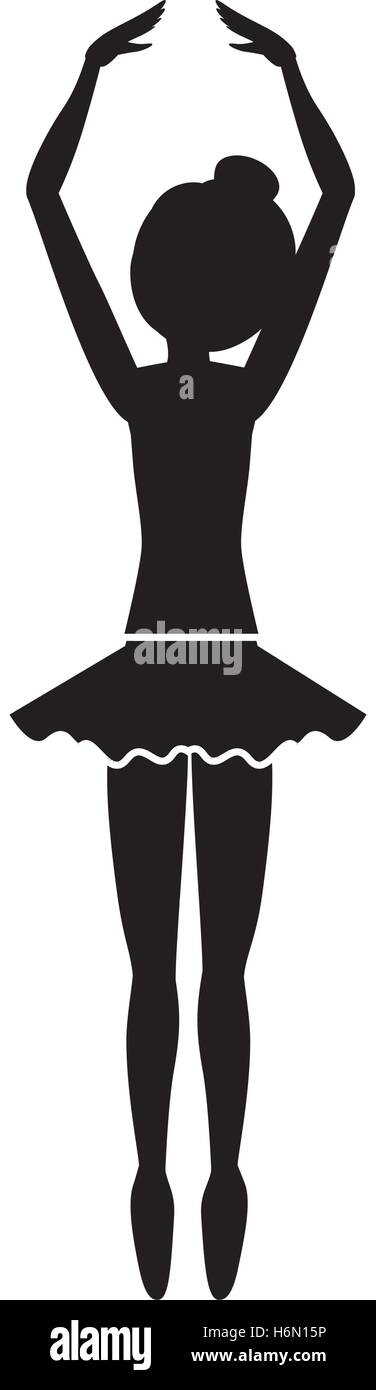 silhouette with dancer fifth position tiptoes vector illustration - Stock Image