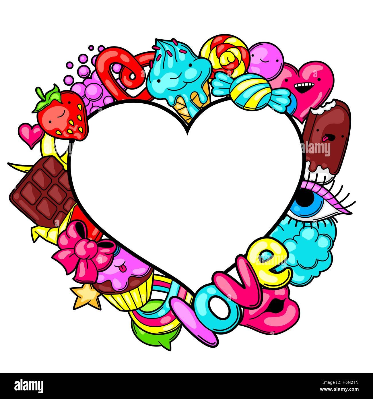 Heart Cartoon Chocolate Bar Sweet Stock Photos & Heart
