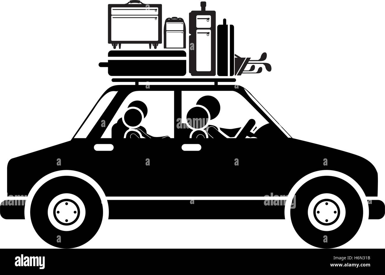 black silhouette family car with baggage vector illustration - Stock Image