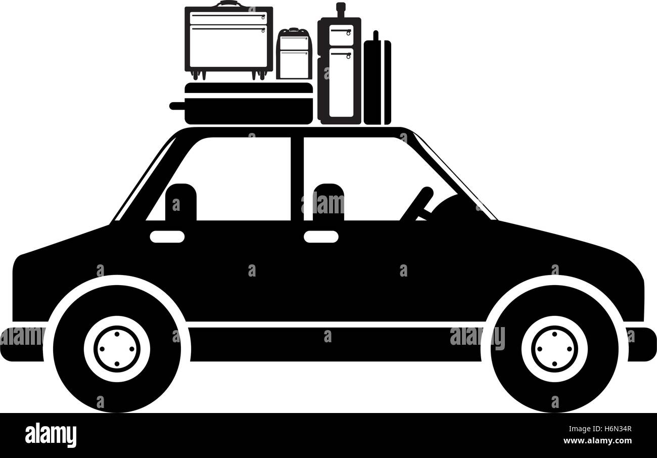 black silhouette car with baggage vector illustration - Stock Vector