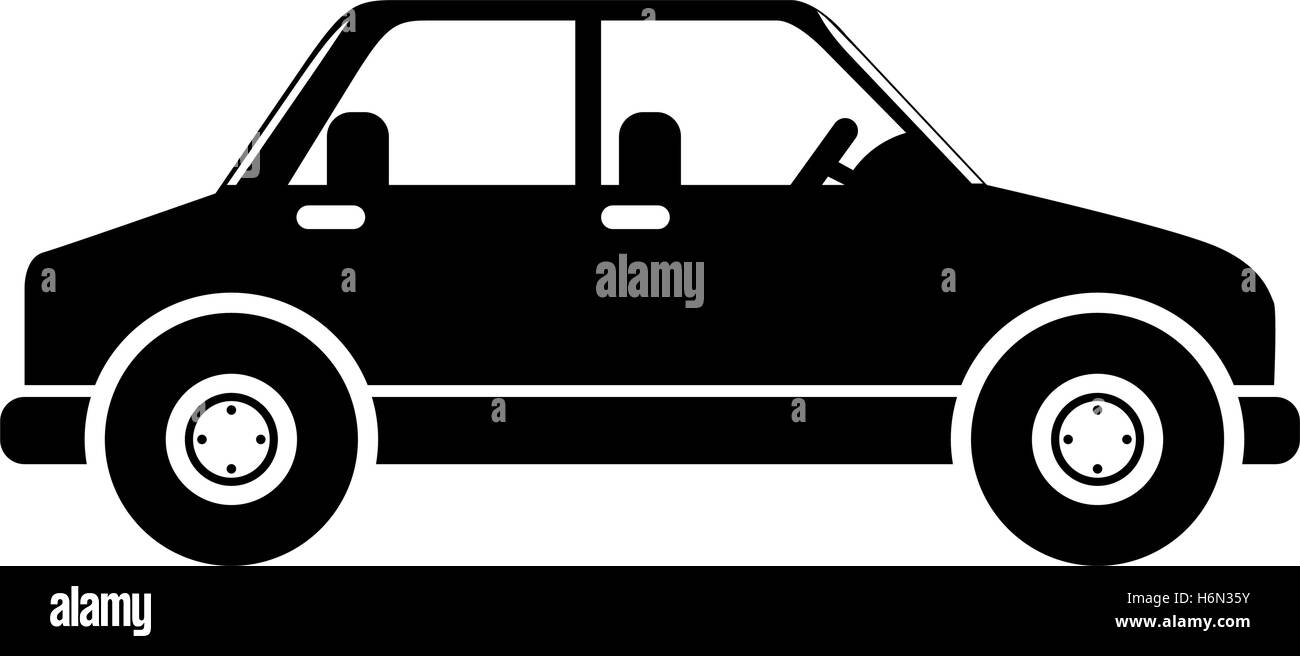 silhouette in black color of vehicle vector illustration - Stock Image