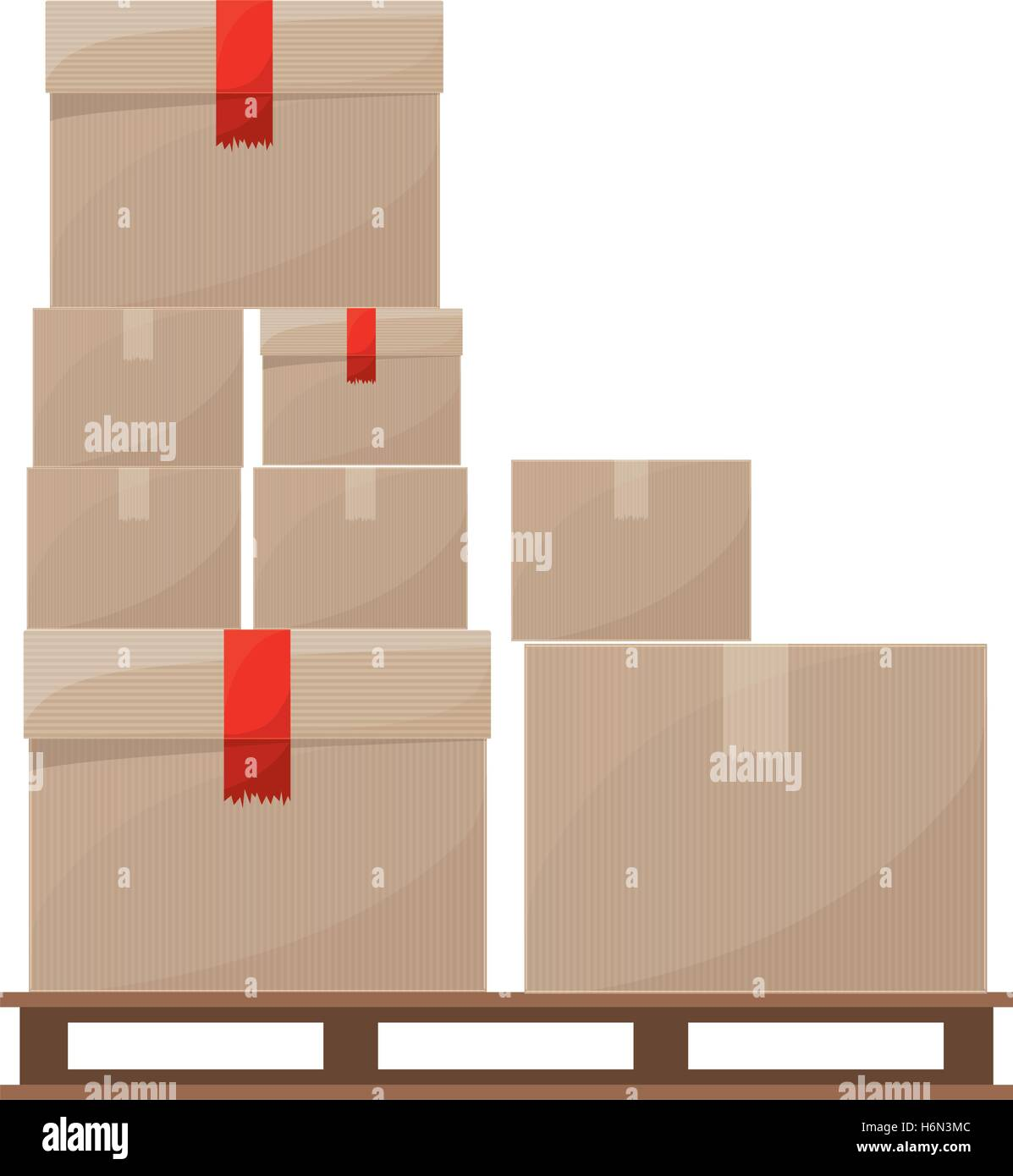 stowage boxes stacked and sealed vector illustration - Stock Vector