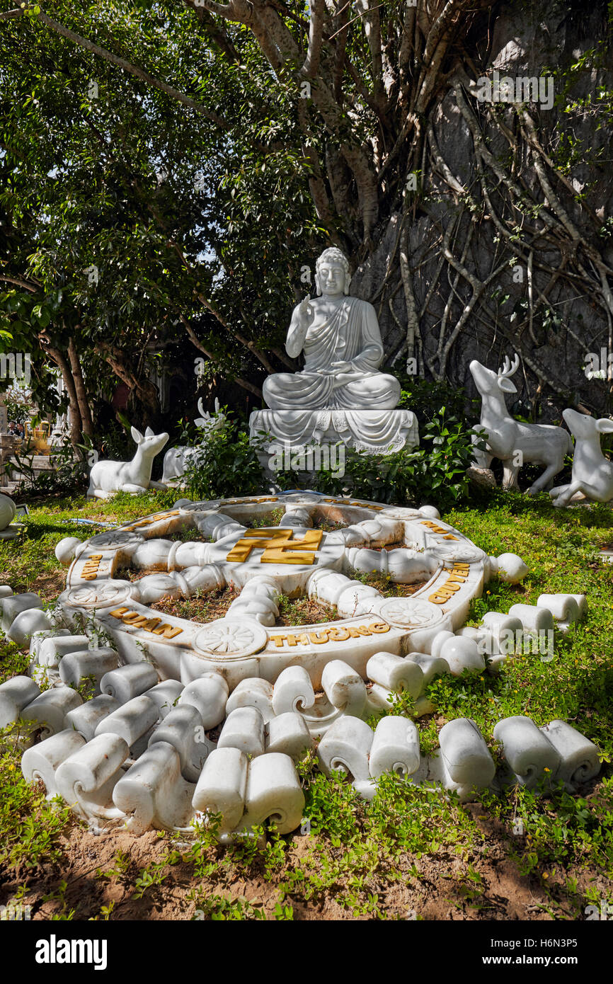 Seated Buddha Statue on Thuy Son Mountain. The Marble Mountains, Da Nang, Vietnam. - Stock Image