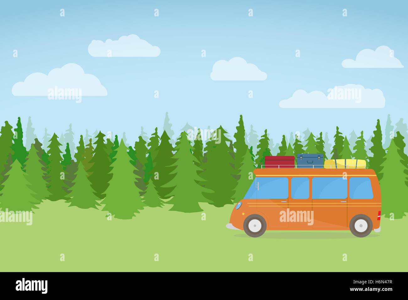 Family bus, traveling on nature background, with forest, clouds and grass. - Stock Vector
