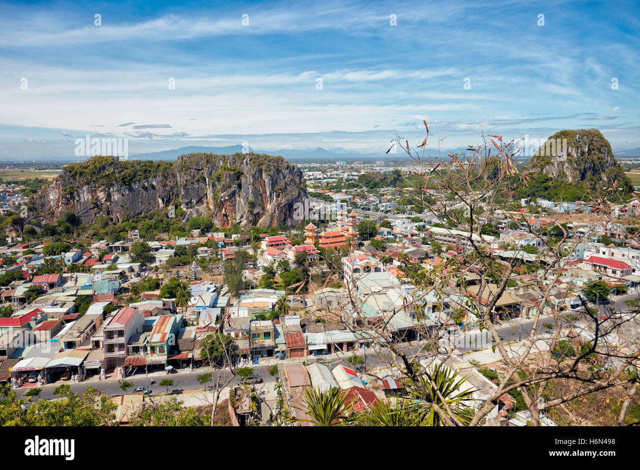 Elevated view of The Marble Mountains. Da Nang, Vietnam. - Stock Image