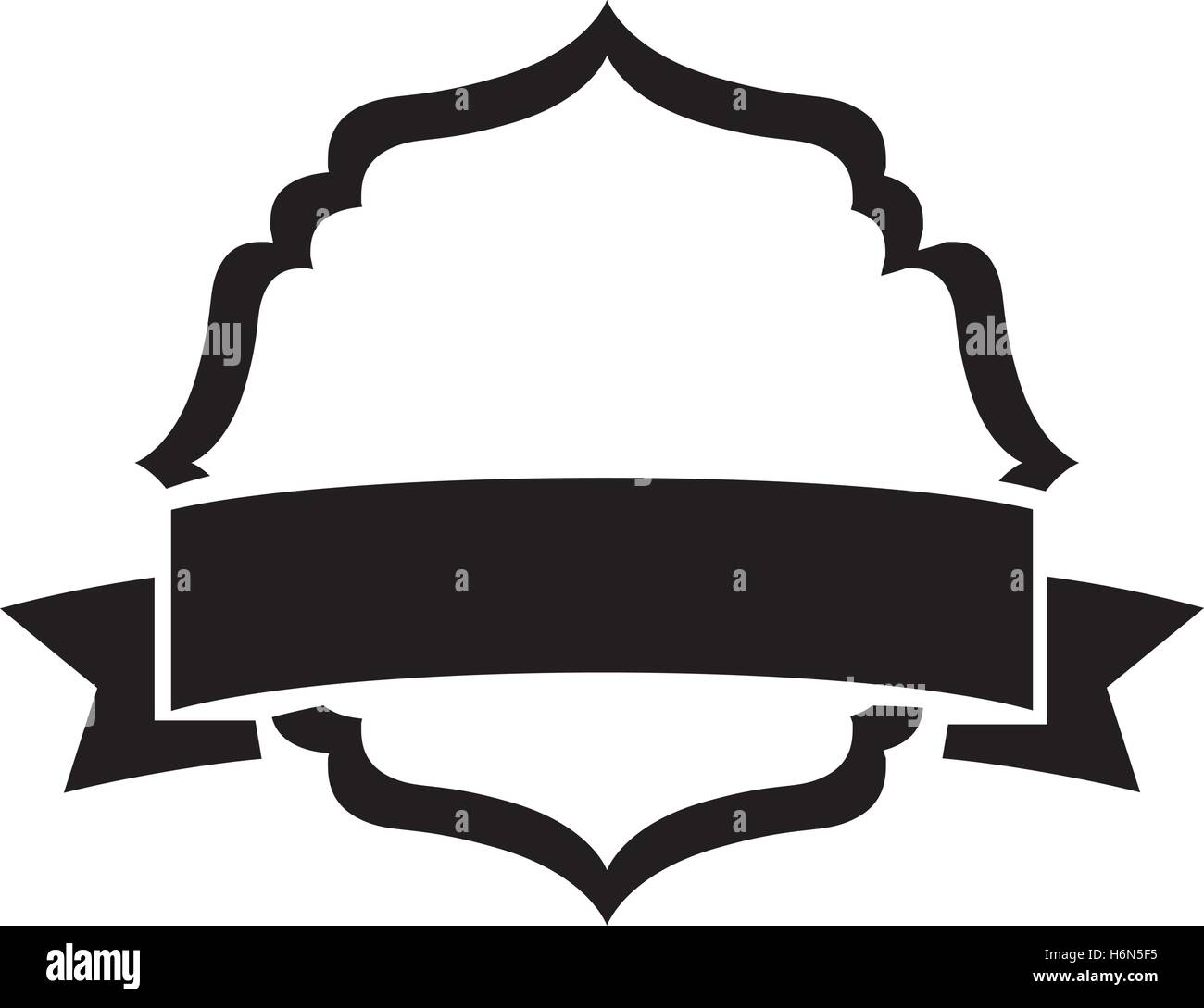 black silhouette heraldic decorative frame with label vector Stock ...