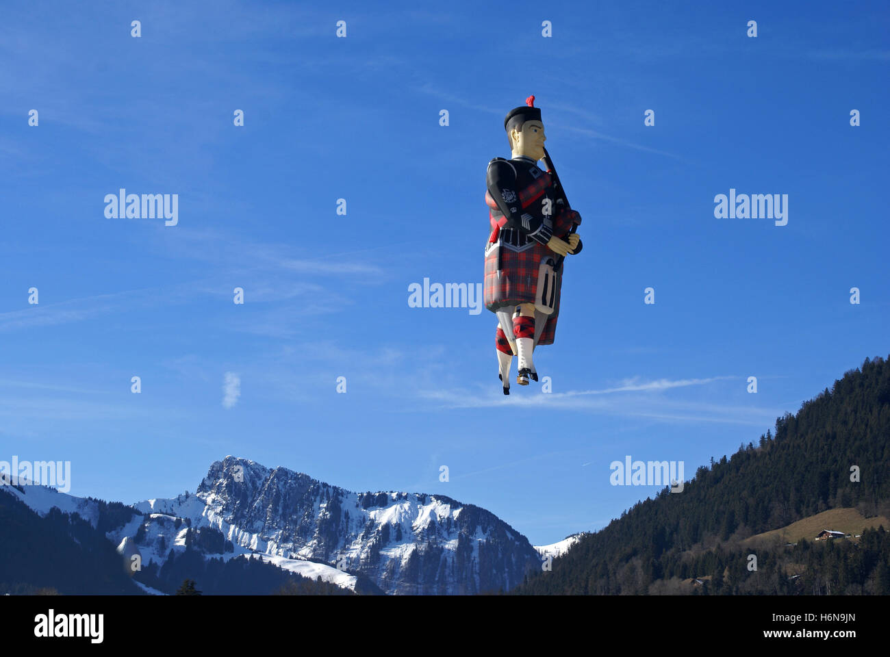 a scot in the alps - Stock Image
