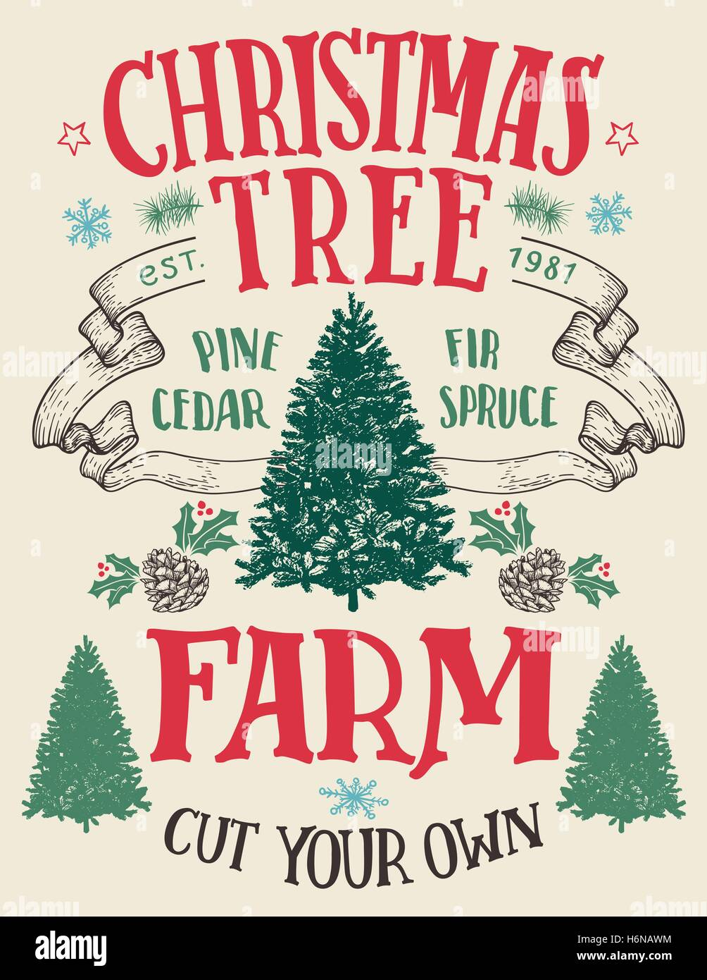 Cut Your Own Christmas Tree.Christmas Tree Farm Cut Your Own Hand Lettering Vintage