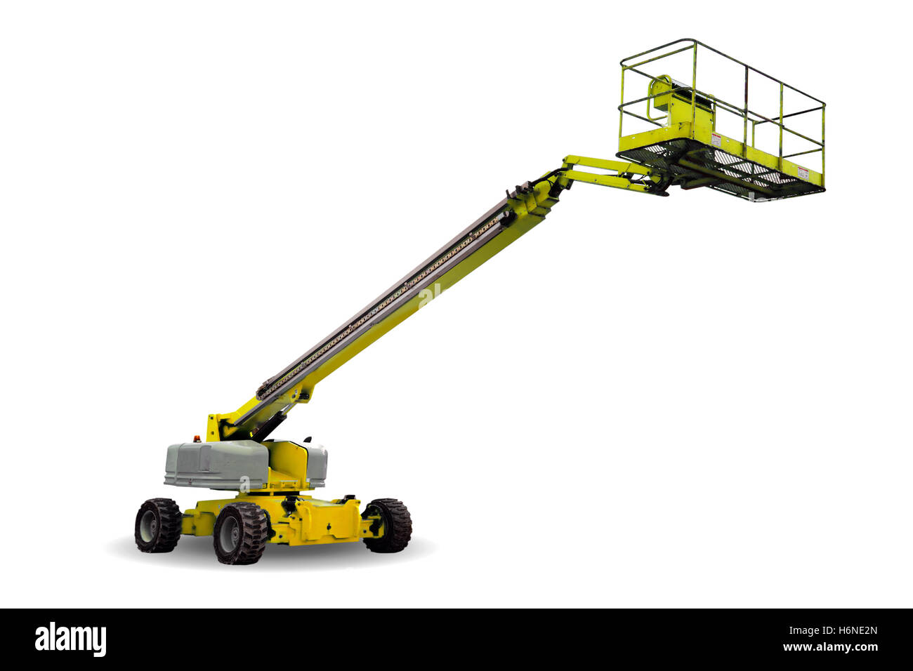 elevator lift isolated industry industrial machinery vehicle work factory platform box equipment hydraulic lifter - Stock Image