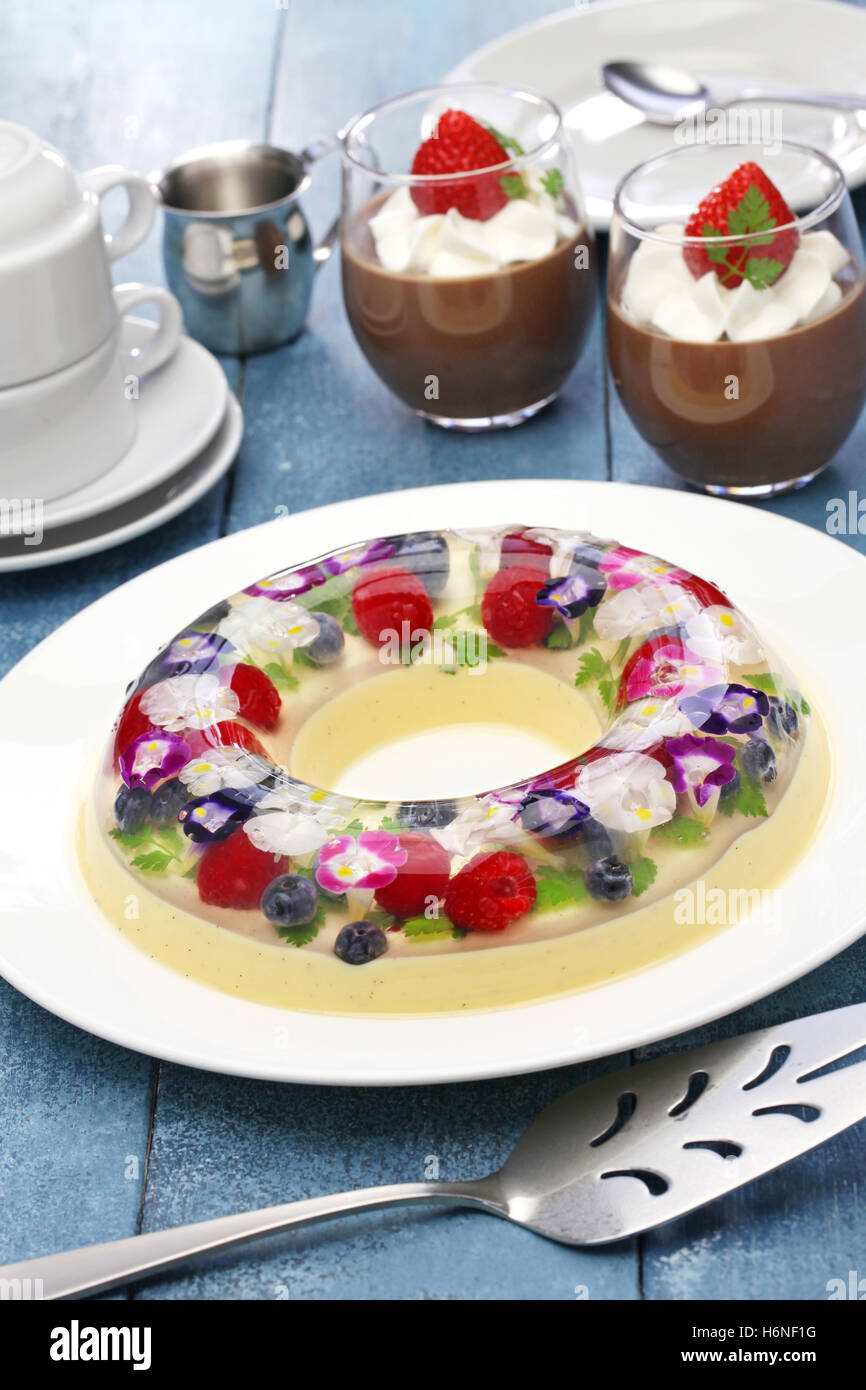 christmas wreath bavarois and chocolate mousse, homemade jelly dessert - Stock Image