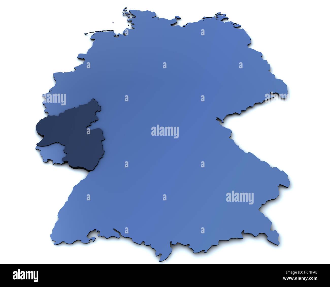 map of germany - rheinland pfalz - Stock Image