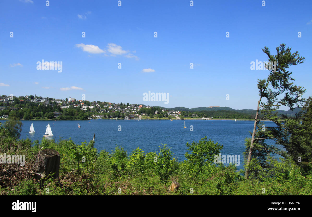 the sorpesee in june Stock Photo