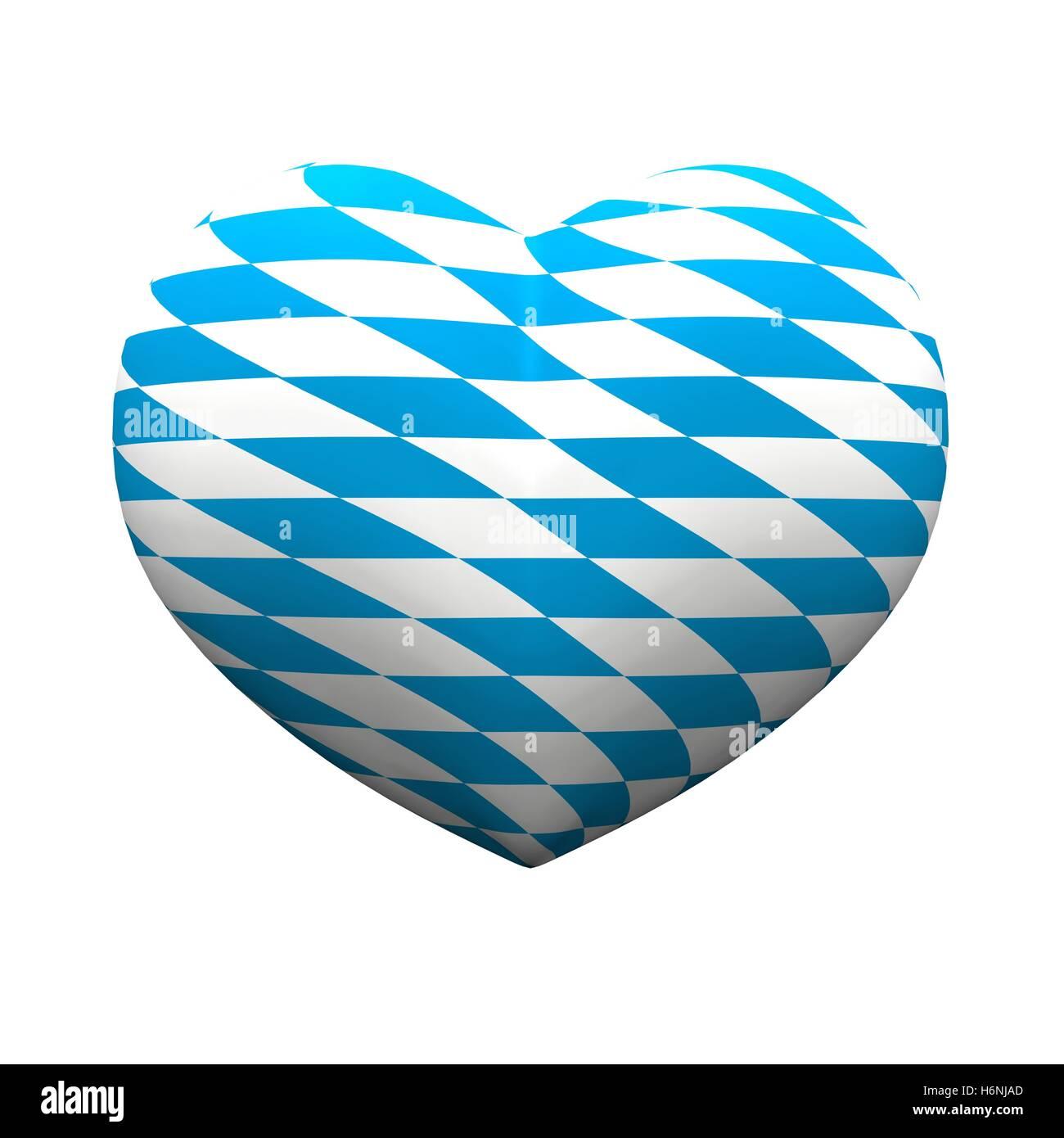 3d heart - we love bavaria 02 - Stock Image