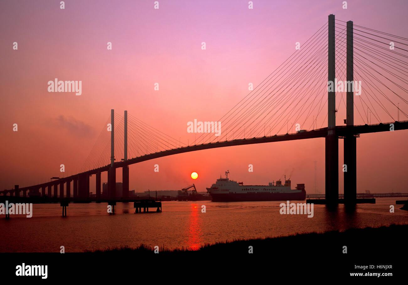 Queen Elizabeth II bridge. Dartford crossing, London, Kent, England, UK. - Stock Image