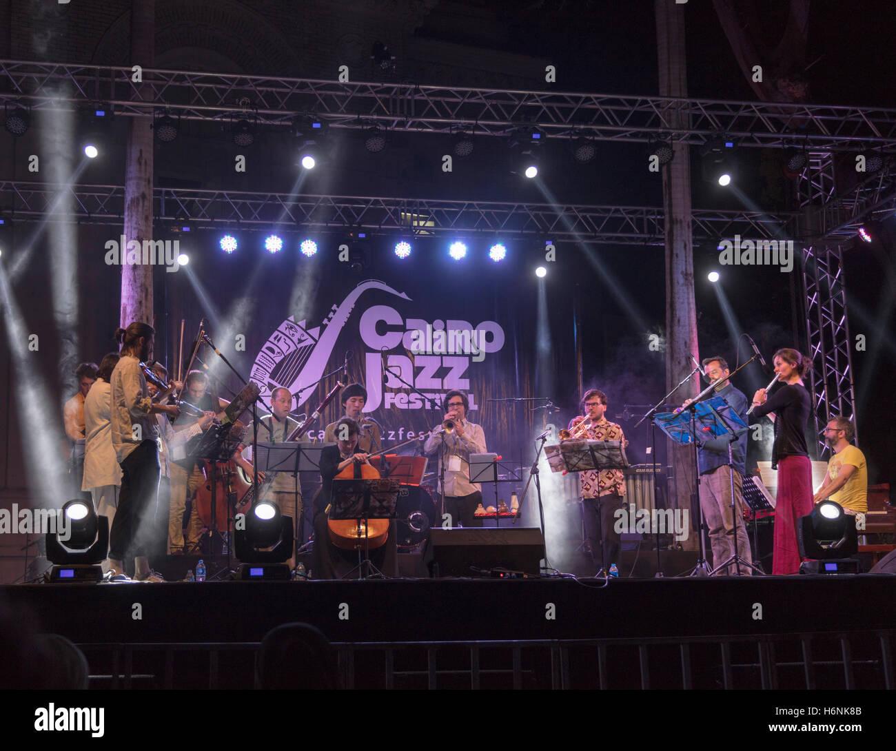 Andromeda Mega Express Orchestra,  Cairo jazz Festival 2016, Egypt - Stock Image