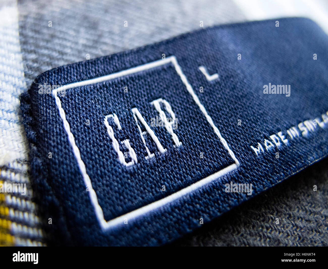 Detail of clothes label of GAP clothes retailer - Stock Image