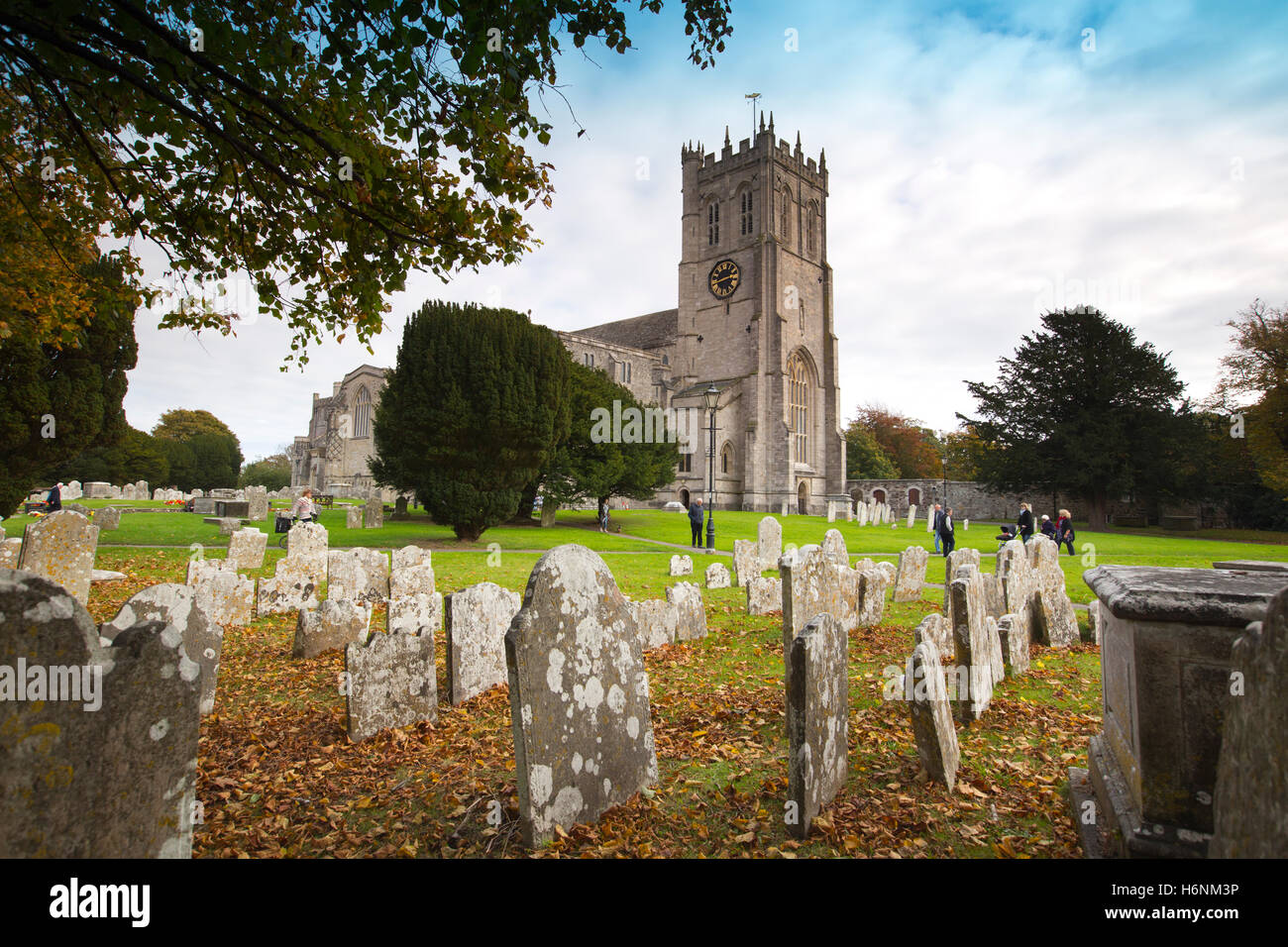 Christchurch Priory Church, built 1904, ecclesiastical church with longest nave in England, Christchurch, Dorset, - Stock Image