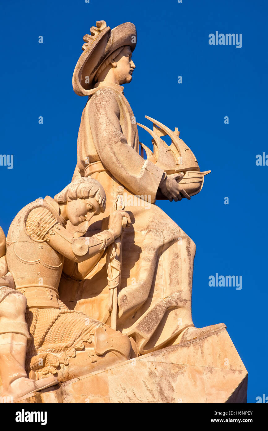 Detail of the Monument to the Discoveries in Lisbon Stock Photo