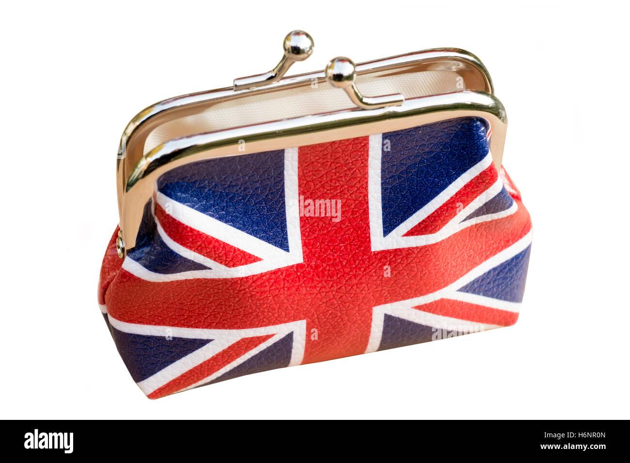 Union jack money purse, UK. - Stock Image