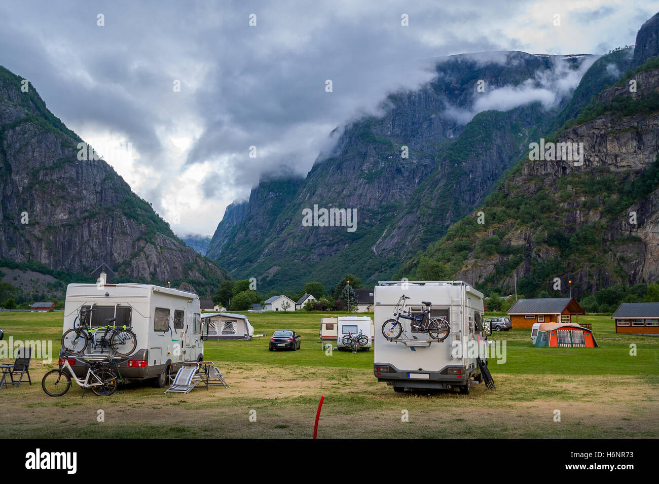 Camper cars at beautiful mountain landscape of Eidfjord, Norway - Stock Image