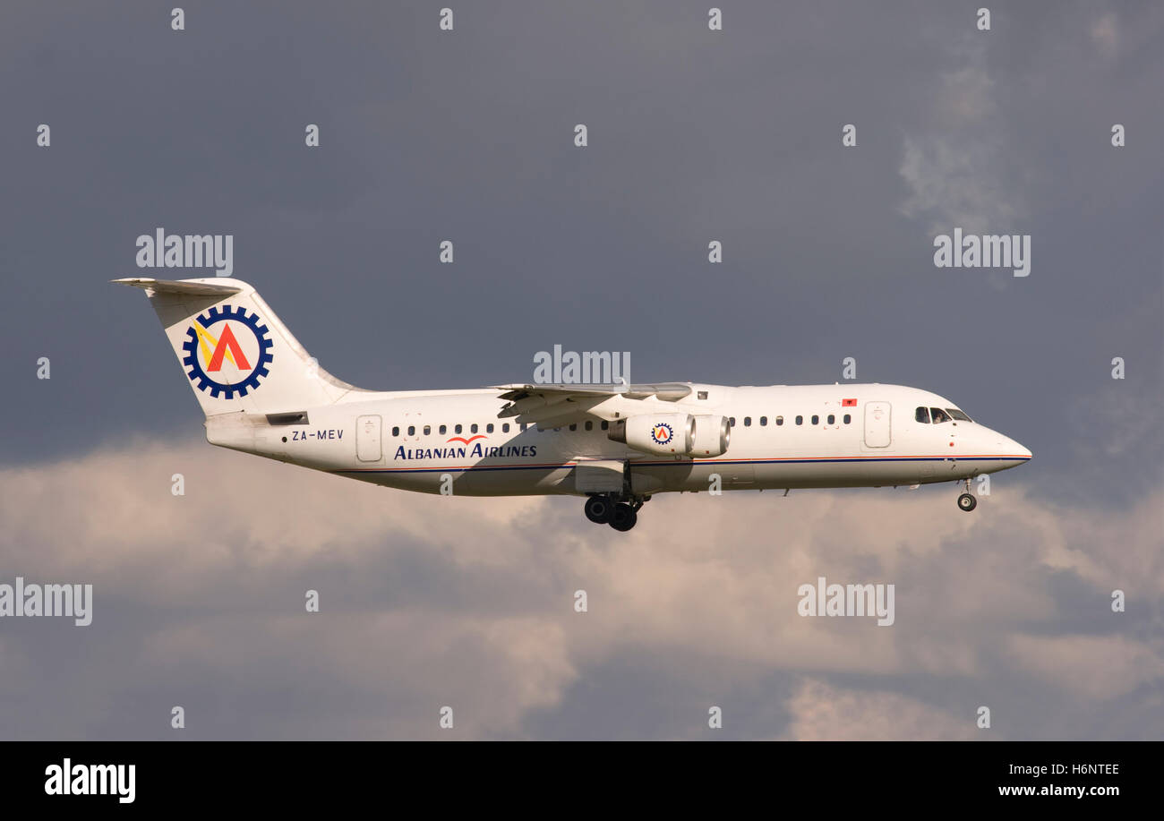 ZA-MEV Albanian Airlines BAe 146 landing at London Stansted. 7th July 2007. - Stock Image