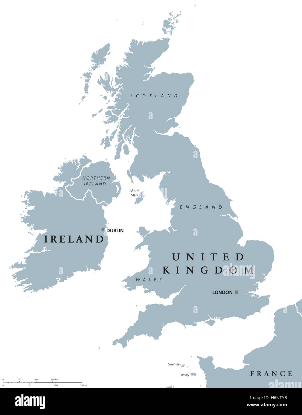 ireland and united kingdom political map with capitals dublin and london and with national borders gray illustration