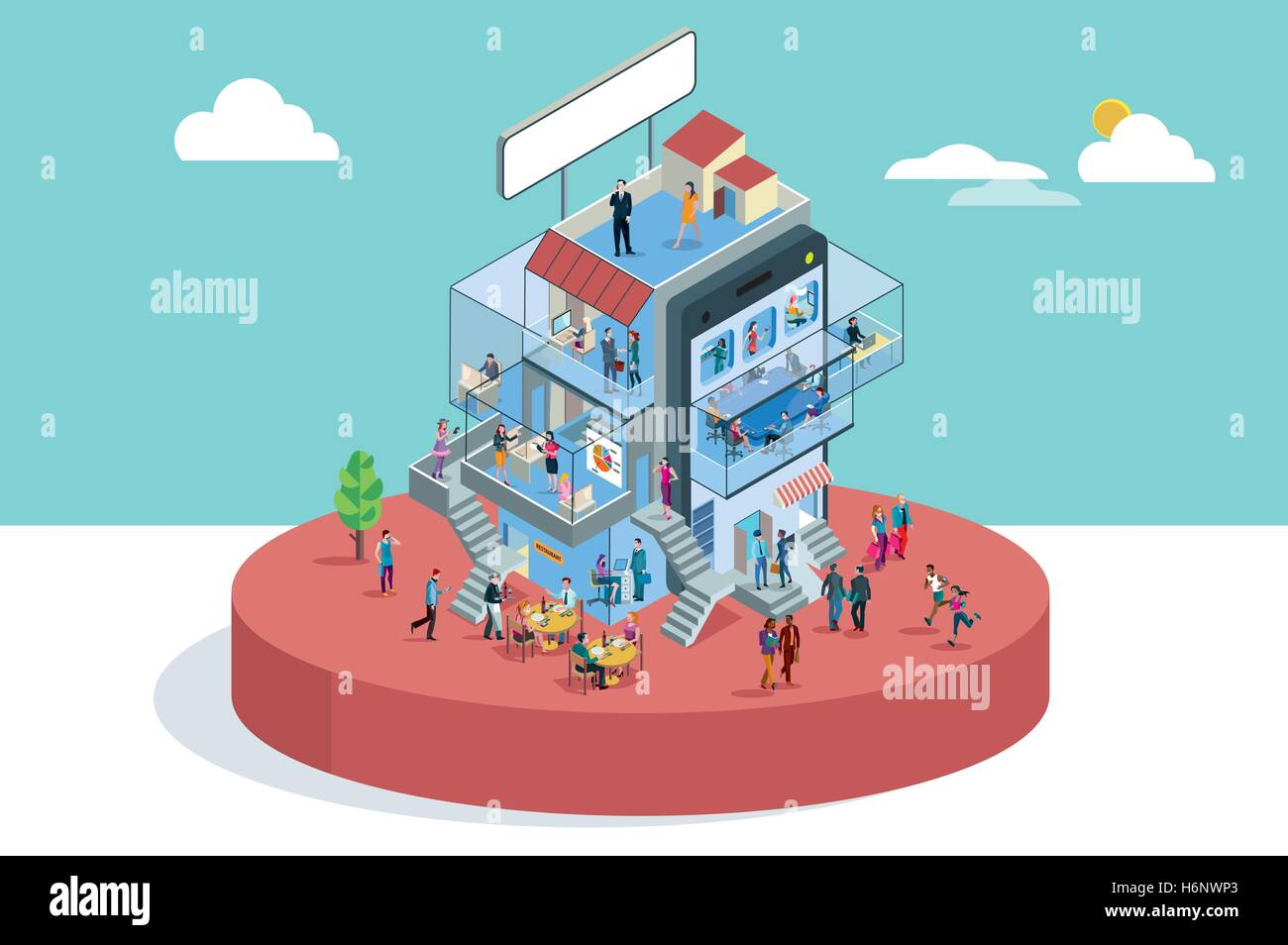 Modern Office Building In Isometric View with businessman and businesswoman working in different departments. Business Stock Vector