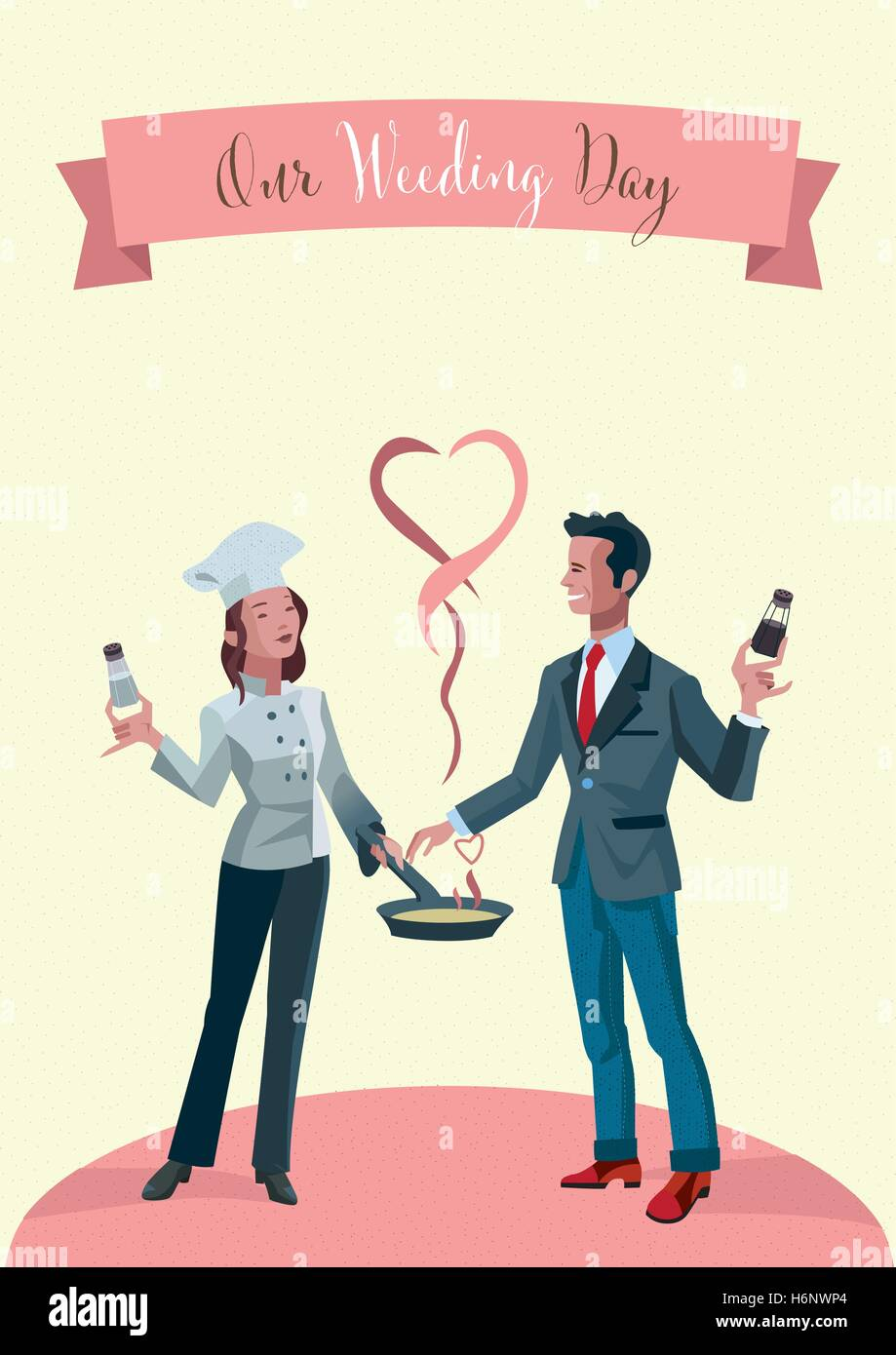 Wedding invitation. A young married couple dressed as chefs. - Stock Image