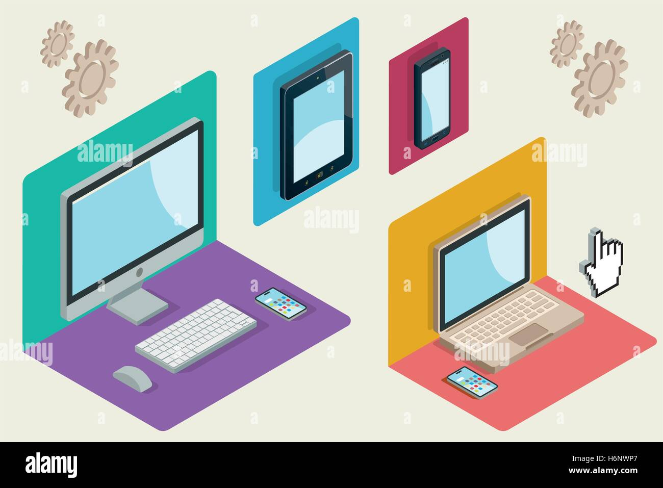 Isometric illustration with a computer, laptop, tablet and smartphone. Responsive web design concept. Vector illustration. - Stock Image