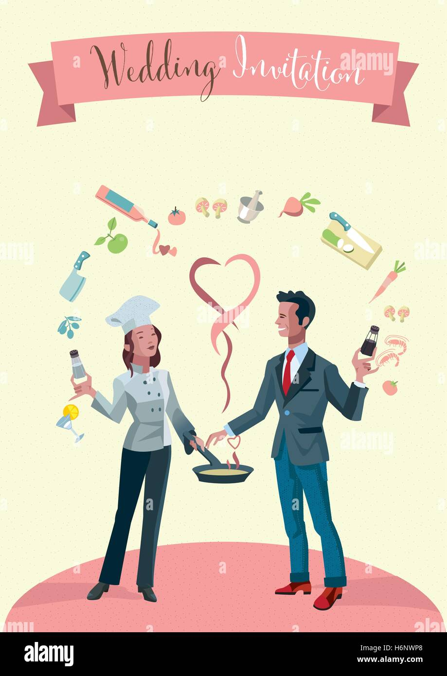 Wedding invitation. A young married couple dressed as chefs. Around them tasty food products. - Stock Image