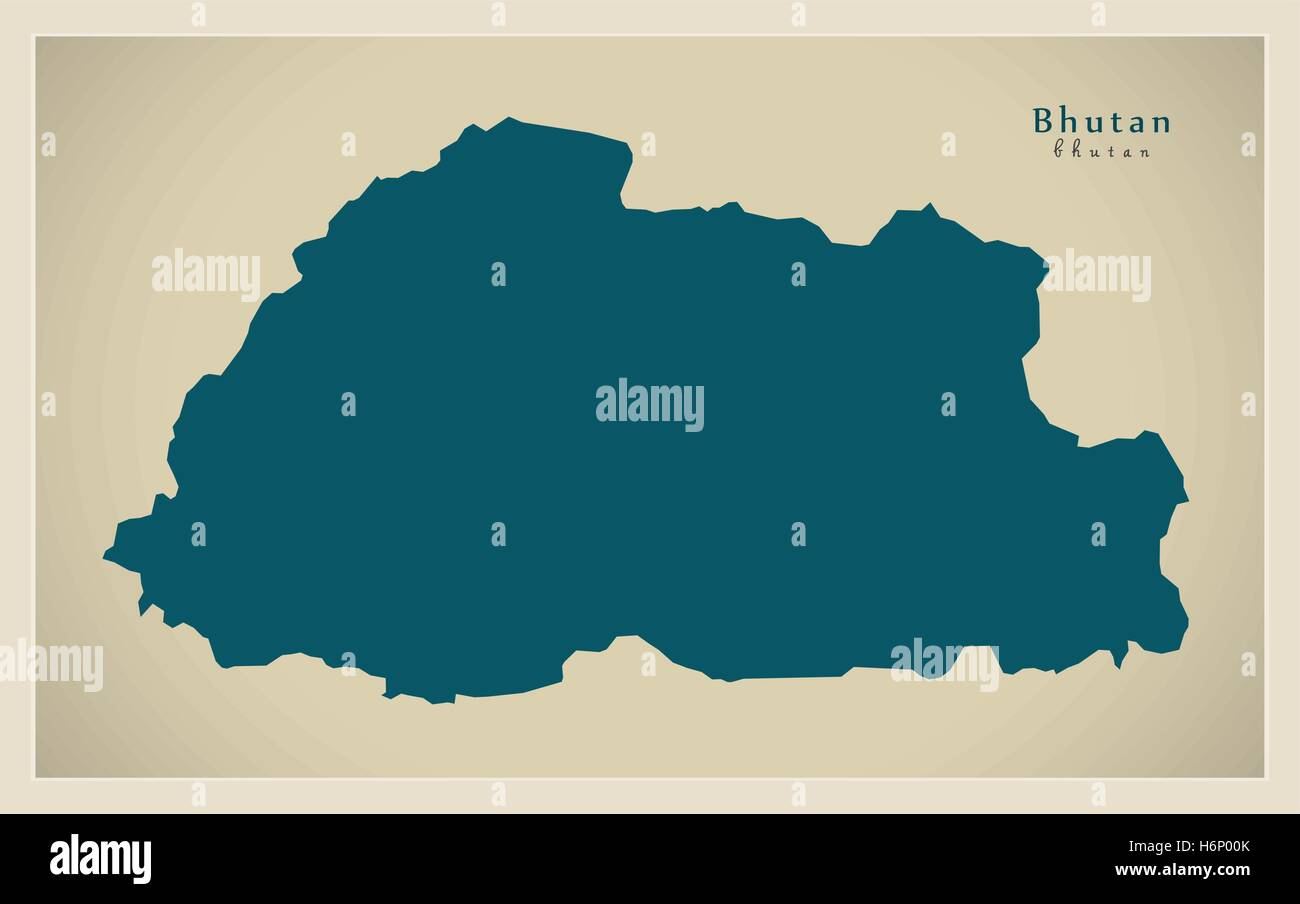 Modern Map - Bhutan BT - Stock Vector