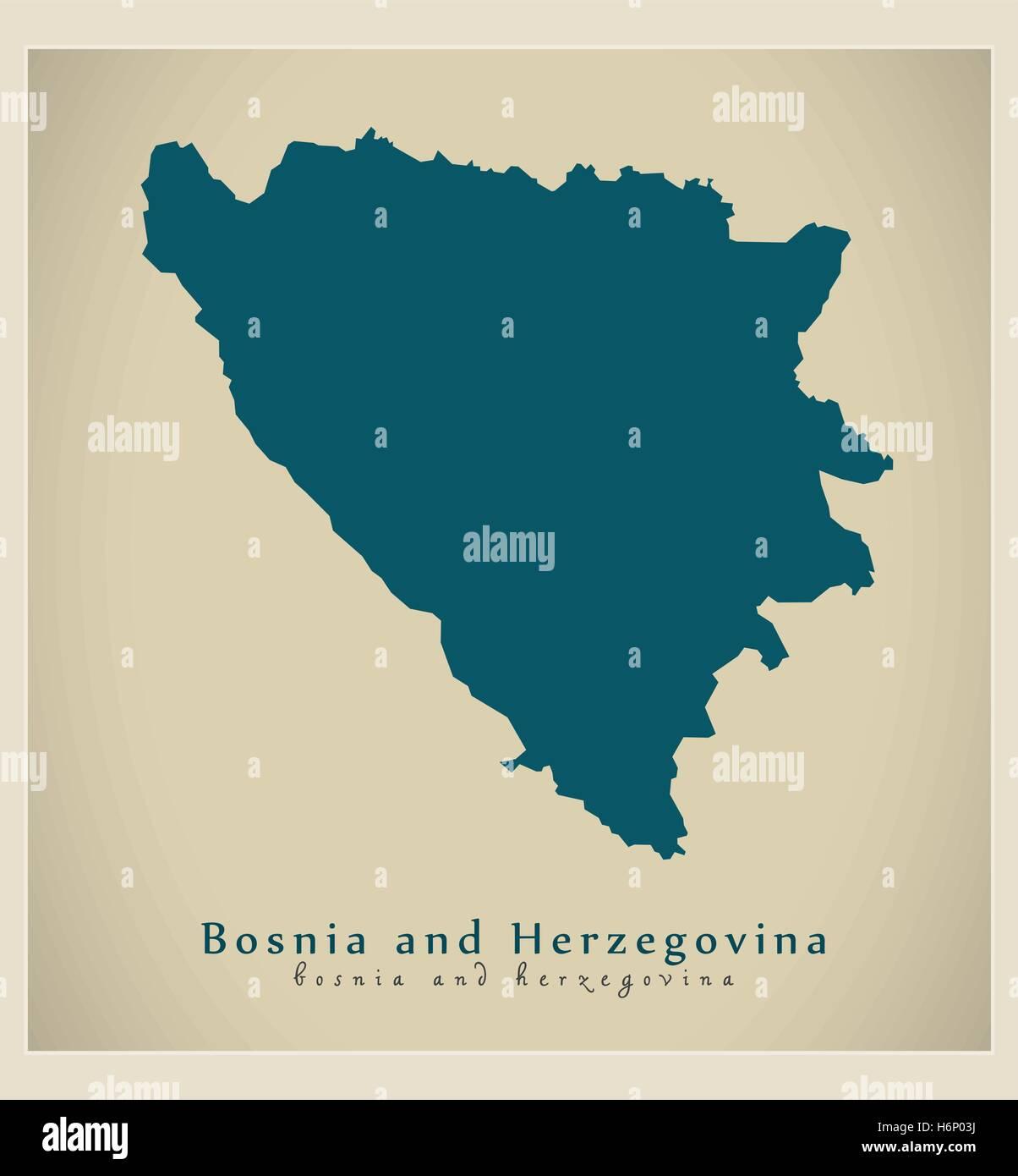 Modern Map - Bosnia and Herzegovina BA - Stock Vector