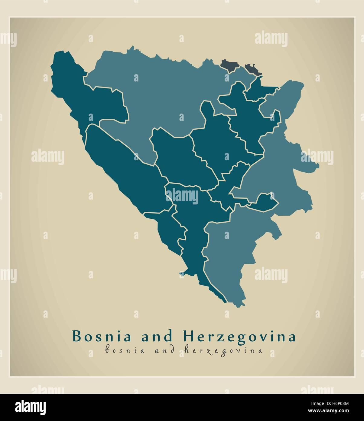 Modern Map - Bosnia and Herzegovina with cantons BA - Stock Vector