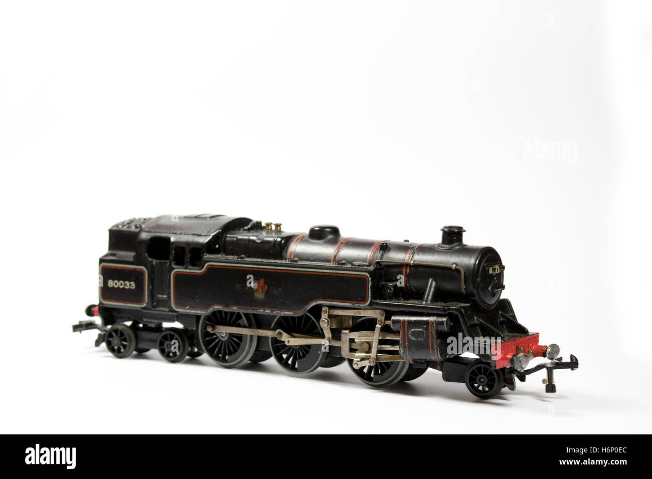 Toy Electric Model Train on White Background - Stock Image