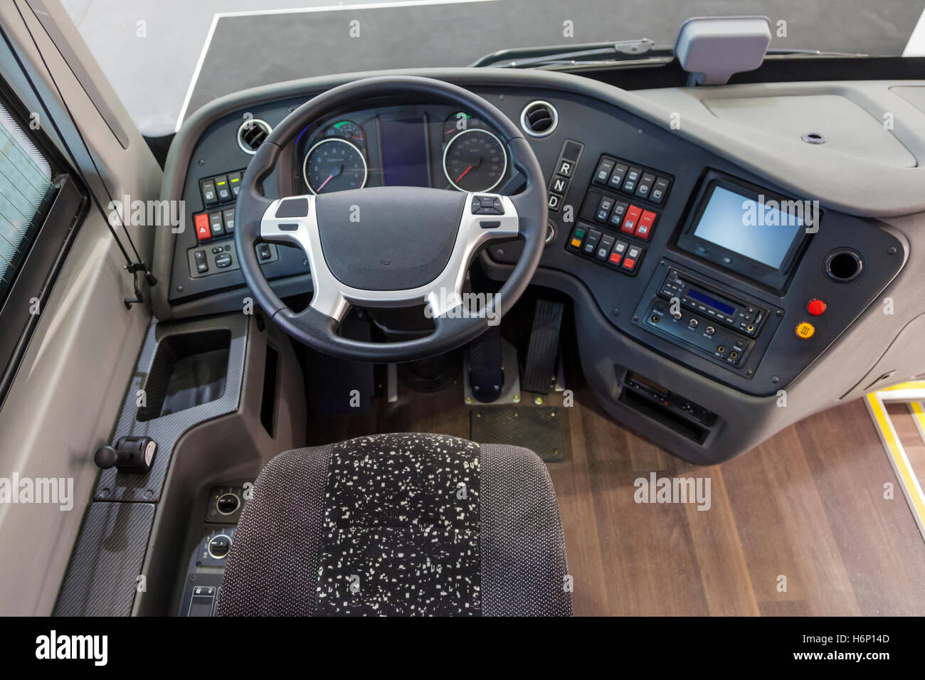 Dashboard of a modern truck - Stock Image