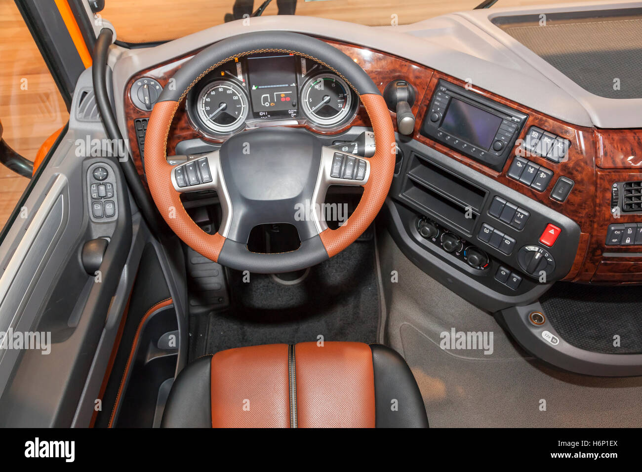 Dashboard of a modern truck with a luxury interior - Stock Image
