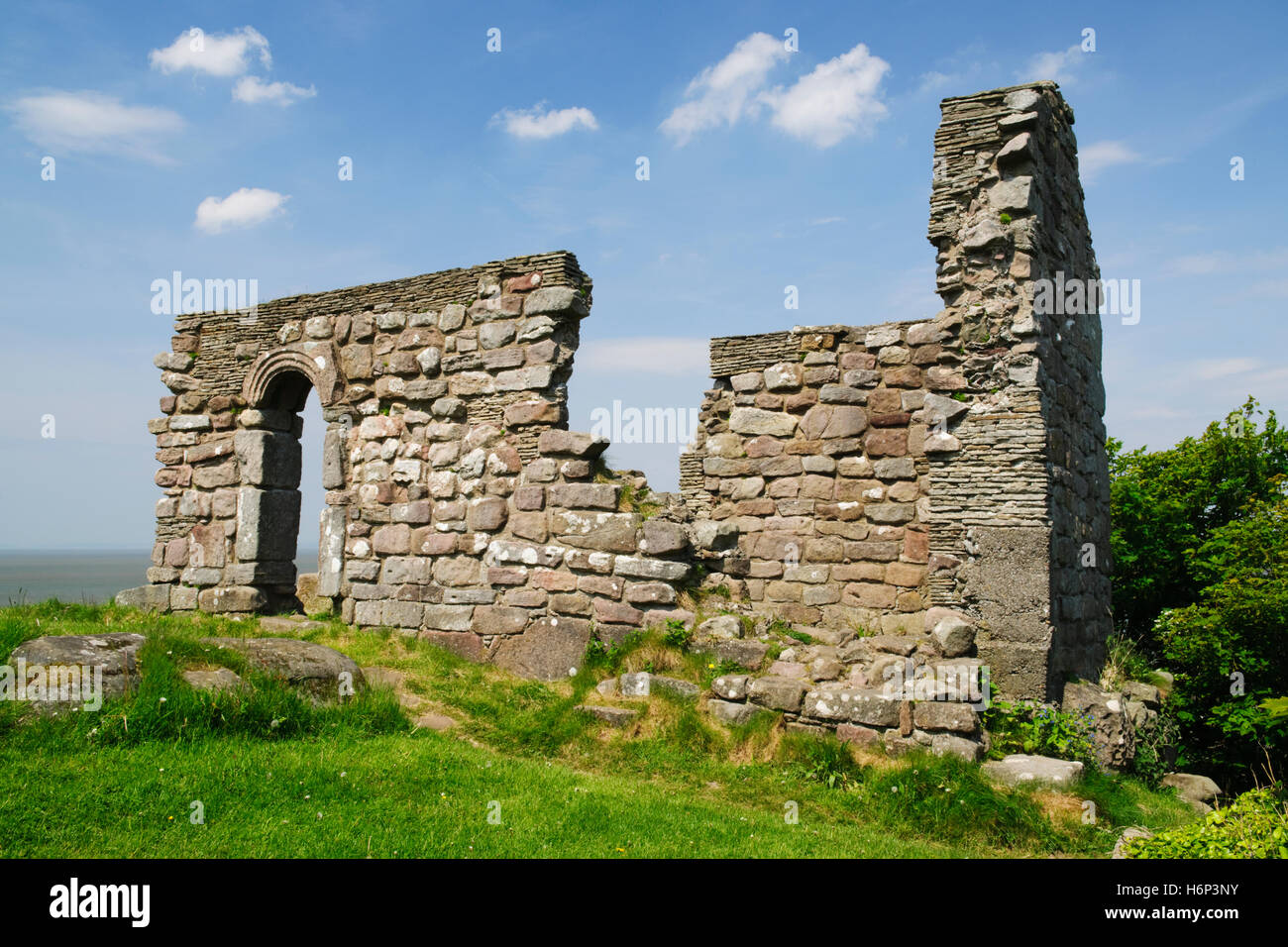 St Patrick's C8th Anglo-Saxon chapel, Heysham, Morecambe Bay: local tradition says Patrick founded a small chapel Stock Photo