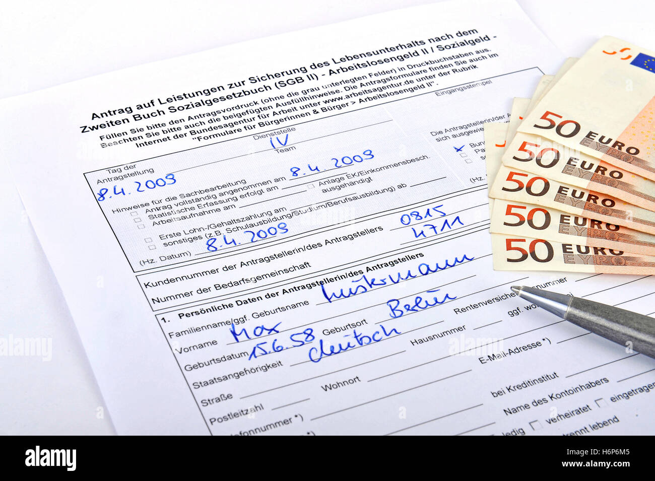 application for unemployment benefits ii,hartz iv - Stock Image