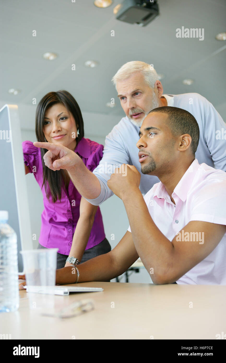 woman profile office indicate show men man teacher inside life exist existence living lives graphic blank european - Stock Image