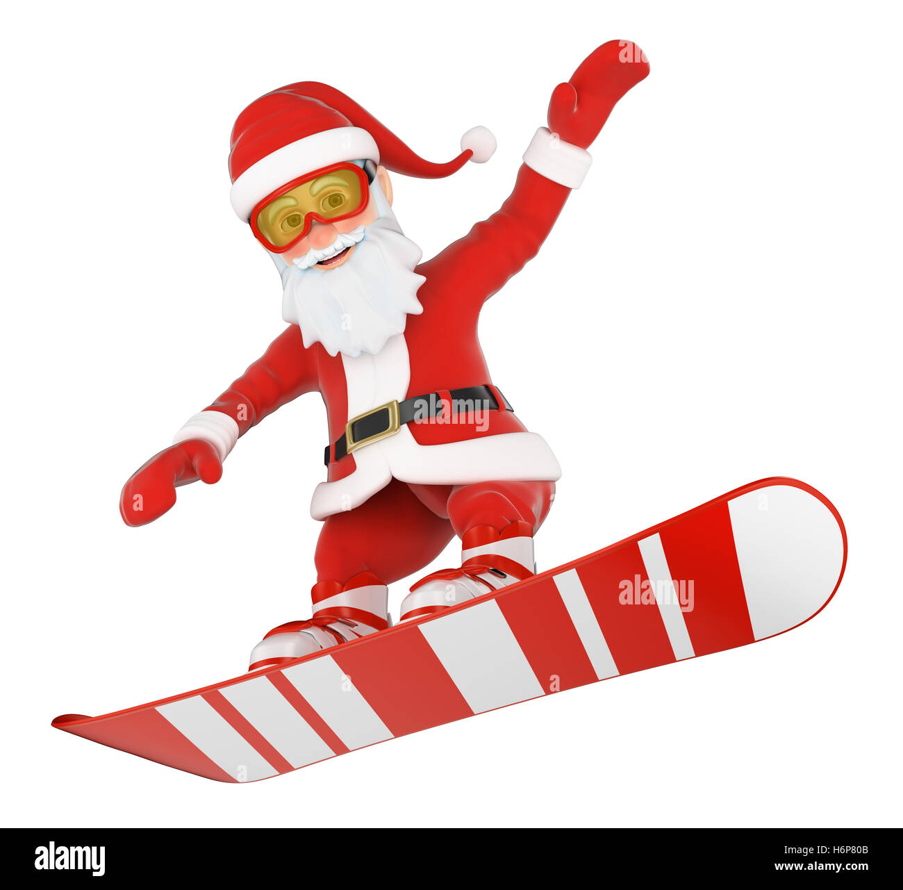 3d christmas people illustration. Santa Claus snowboarding jumping. Isolated white background. - Stock Image